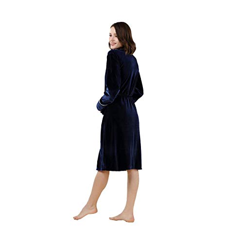 Colores Batas Otoño V cuello Camisones Mujer Pijama Marca De Moda Cinturón Albornoz Invierno Chic Azul Sólidos Elegantes Manga Mode Hermoso Larga Pijamas Con Terciopelo 4qCw1Oq