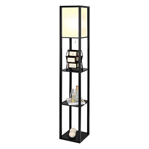 Home-Man LED Floor Lamp - Etagere Style Modern Standing Light for Living Rooms & Bedrooms with LED Light Bulb Included - 3 Tiers Storage Shelving for Accent Decor Organization (2 Tier Lamp)