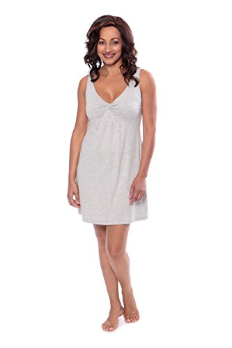 (Women's Bamboo Viscose Nightgown - Luxury Sleepwear by Texere (Romanciful, Heather Platinum, Large) Soft Sleepwear Gifts for Women TX-WB041-001-21G2-R-L)