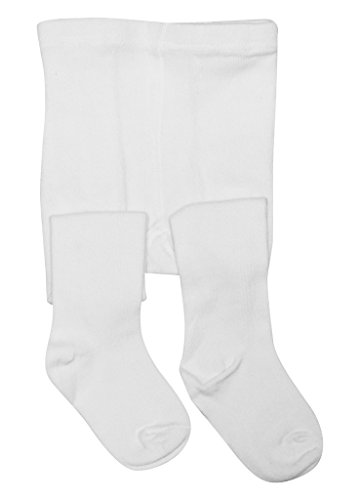BEAR MUM Baby Girls' Seamless Organic Cotton Tights White 0-6Month