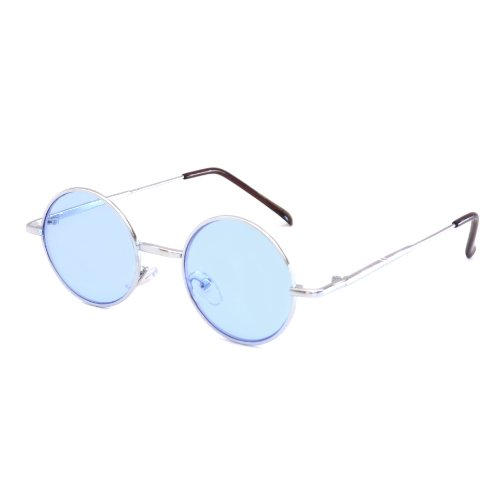 John Lennon Vintage Style Round Silver Hippie Party Shades Sunglasses BLUE - Blue Depp Johnny