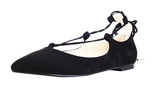 queenfoot Pump6012 - Mocasines de Ante para mujer C-Black Suede