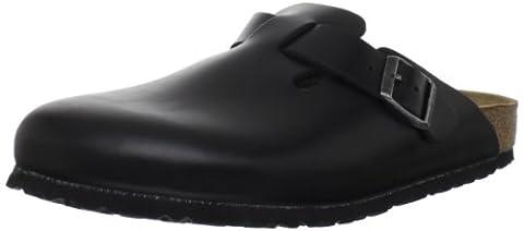 Birkenstock Unisex Boston Soft Footbed, Black Amalfi Leather, 38 M EU - Unisex Black Leather