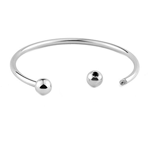 - RUBYCA 5pcs White Silver Plated Bangle Bracelet Screw End Ball Cuff Charm Beads DIY Jewelry