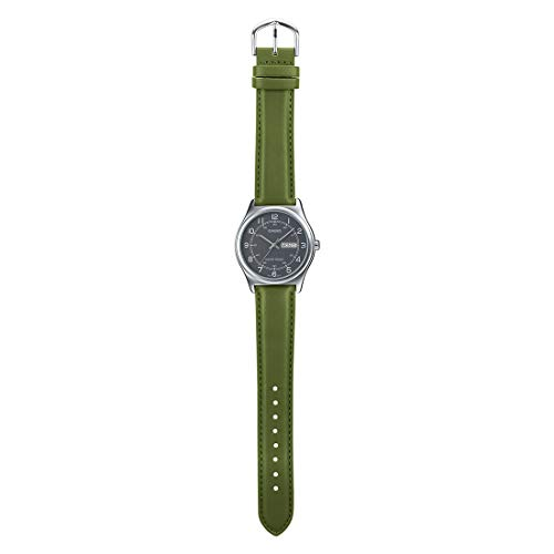 Casio MTP-V006L-3B Men's Green Leather Band Grey Numbers Dial Day Date Analog Dress Watch