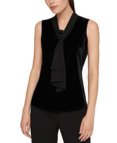 s Velvet Neck Tie Blouse Black M ()