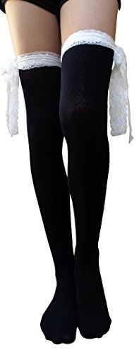 bf4907f3c AM Landen Gothic Lolita Over the Knee Socks Thigh High Socks Bow ...
