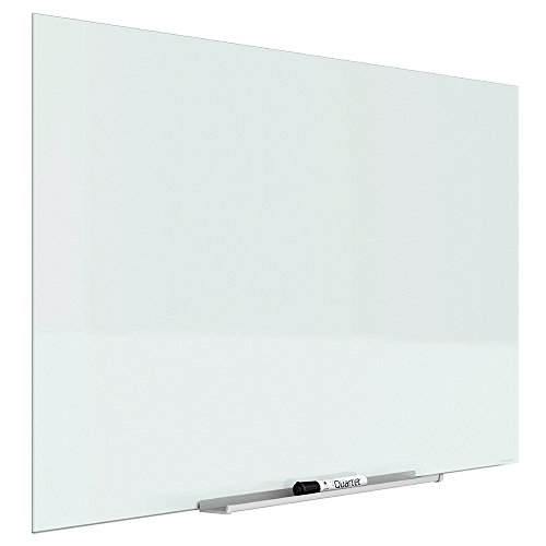 "Quartet Magnetic Whiteboard, Glass White Board, 50"" x 28""', White Dry Erase Surface, Frameless, InvisaMount (G5028IMW)"