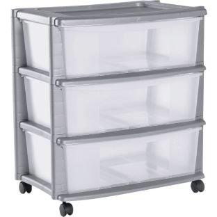 Drawer Plastic Wide Tower Storage Unit Silver