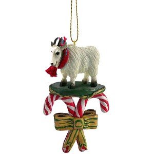 mountain goat candy cane christmas ornament