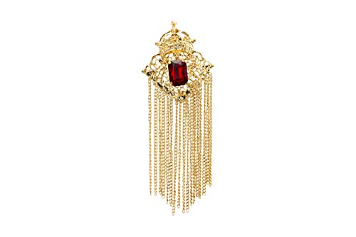 (Knighthood Crowned Deep Red Stone with Abstract Work and Hanging Chain Brooch)