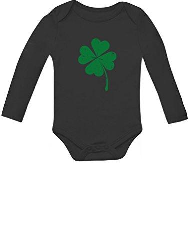 Faded Shamrock Green Clover St.Patrick's Day Irish Baby Long Sleeve Bodysuit 12M Black