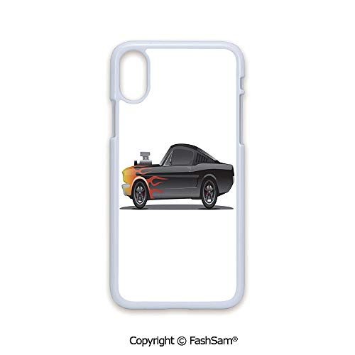 Plastic Rigid Mobile Phone case Compatible with iPhone X Black Edge Custom Design Muscle Car with Supercharger and Flames Roadster Retro Styled Decorative 2D Print Hard Plastic Phone Case