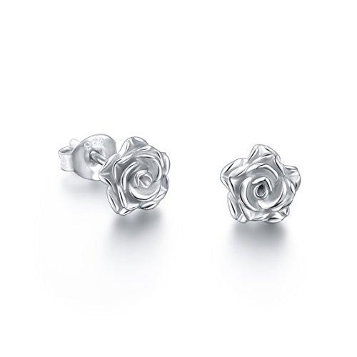 ALPHM S925 Sterling Silver Rose Flower Stud Lotus Earrings for Women Girl ()