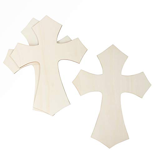 Unfinished Wood Wall Cross - 3-Pack Large Cross, 11.8 x 15.5-Inch Hanging Cross for DIY Craft, Religious Home Decoration