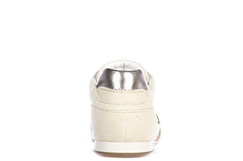 Hogan scarpe sneakers bambina camoscio nuove olympia h flock oro
