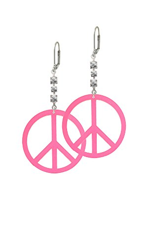 Acrylic Large Hot Pink Peace Sign - Crystal Madison Leverback Earrings