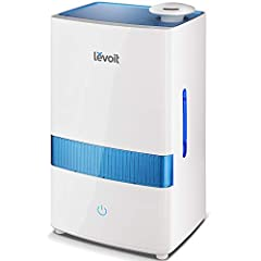 Disperse cool mist throughout your living spaces to create a soothing atmosphere at home with the LEVOIT Ultrasonic Humidifier. The soothing mist helps eliminate most germs/bacteria, viruses, mold spores, and mineral dust around your living s...