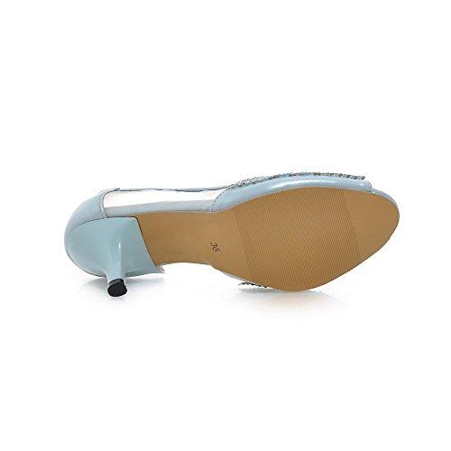 AmoonyFashion Womens pull-on Peep-Toe High-Heels PU Solid Sandals LightBlue SX0mJKxMWl