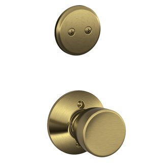 Schlage F94-BEL-609 Antique Brass Dummy Handleset with Bell Knob and Regular Rose (Interior Side - 609 Bel Bell