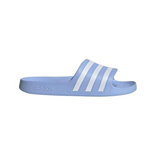 (adidas Women's Adilette Aqua Slide Sandal, White/Glow Blue, 10 M US)