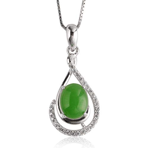 (LXIANGP Necklace for Women,S925 Silver Inlaid Natural Jade Gemstone Green Pendant Female Gift Box Packaging Chain Length About 45cm)