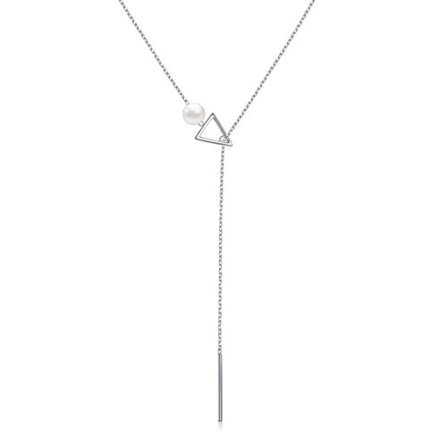 Necklace Fine Womens (LINLIN FINE JEWELRY Long Necklace 925 Sterling Silver Adjustable Triangle and Cylindrical Y Shaped Lariat Necklace for Women, 28 + 2 inches)