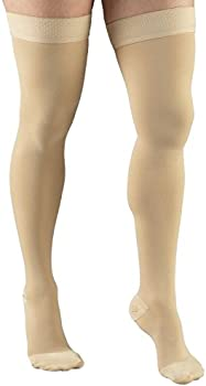 Thigh High Length X-Large Truform 20-30 mmHg Compression Stockings for Men and Women Open Toe Beige