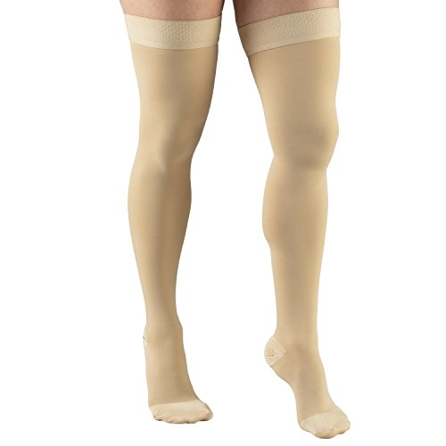 Truform 20-30 mmHg Compression Stockings for Men and Women, Thigh High Length, Dot Top, Closed Toe, Beige (Open Toe), 2X-Large (20-30 mmHg)