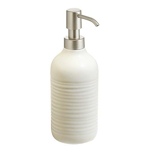 InterDesign Elsa Liquid Soap & Lotion Dispenser Pump for Kitchen or Bathroom Countertops, Natural/Satin (Soap Natural Chrome Dispenser)