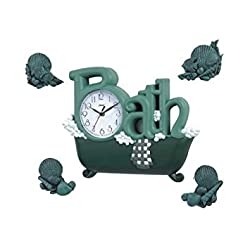 New Haven Bath Clock with Four Shells, Green