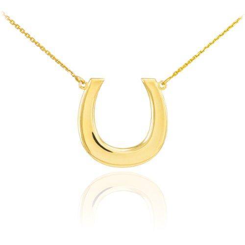 14k Yellow Gold Lucky Horseshoe Pendant Necklace, - Horseshoe Gold Necklace
