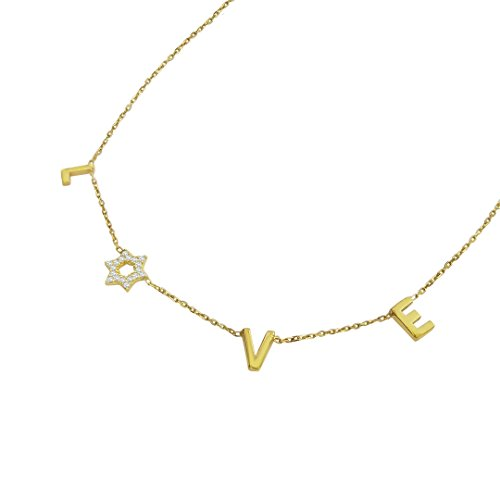 LOVE Necklace with Sparkling Jewish Star of David for Bat Mitzvah in Yellow Gold Adult Bat Mitzvah