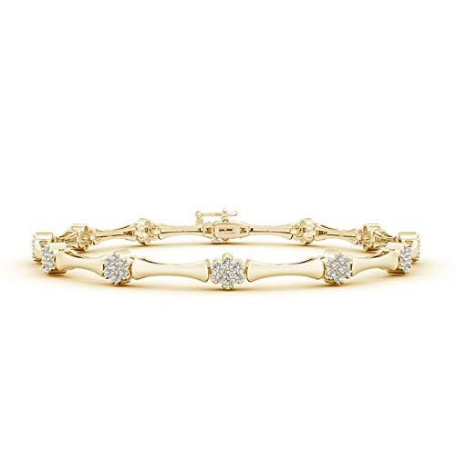 Diamond Flower Cluster Bamboo Link Bracelet in 14K Yellow Gold (1.1mm Diamond)
