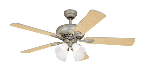 Westinghouse Lighting 78077 Swirl Four-Light 52-Inch Five Blade Ceiling Fan, Brushed Pewter with Frosted Swirl Shades 5 Blade Swirl Ceiling Fan