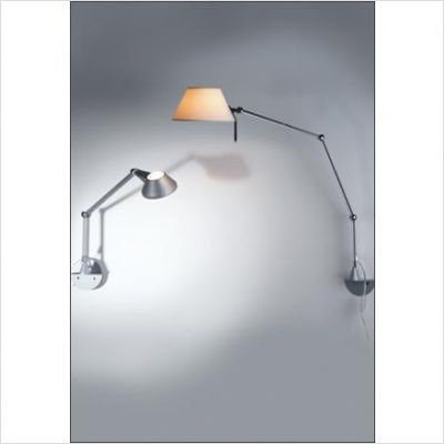 Petite Wall Lamp Mounting Type: Junction Box, Finish / Shade: Matte Aluminum / White Fabric, Size: Small