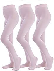 MANZI Ballet Tights 3 Pairs Footed Girls Tights for Ballet Dance School Age 4-12