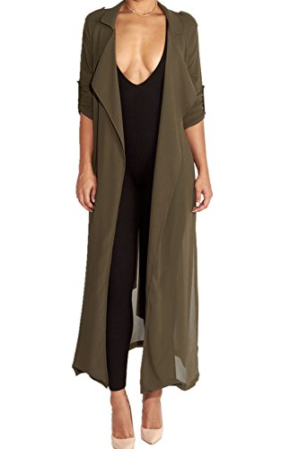 Cresay Women Chiffon Long Sleeve Cardigan Cover up Blouse
