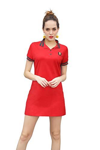 ZHIJINGBIANWEI Women's Casual Polo Dress Embroidery Badge Stretch Cotton Mini Short Sleeve Polo Shirt Golf Shirt Red ()