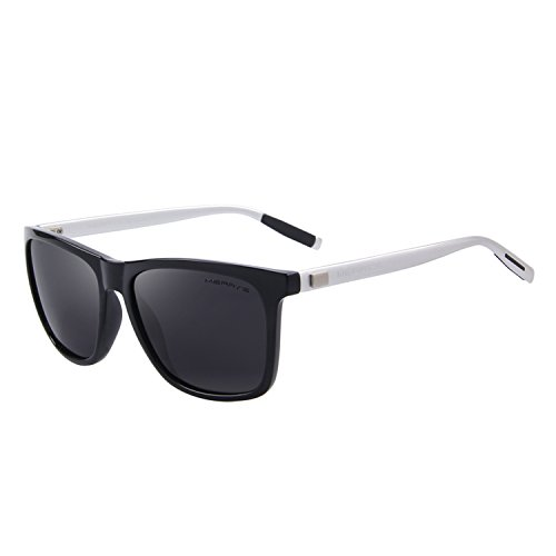 MERRY'S Unisex Polarized Aluminum Sunglasses Vintage Sun Glasses For Men/Women S8286 (Black&Silver, - Mens Sungalsses