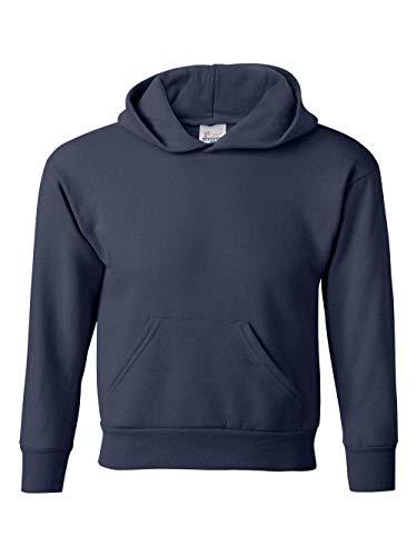 Hanes 7.8 oz Youth COMFORTBLEND EcoSmart Fleece Pullover Hood, Navy, Medium,Navy,Medium