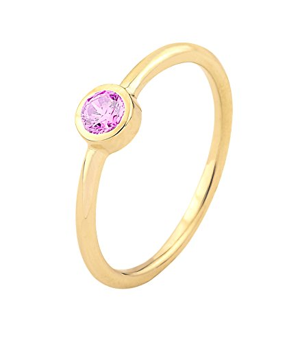 - Ice on Fire Jewelry 14k Yellow Gold Bezel Set Pink Cubic Zirconia October Birthstone Ring (9)