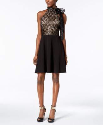 Betsey Johnson Women's Lace Bodice Scuba Crepe Dress, Black, 2 ()