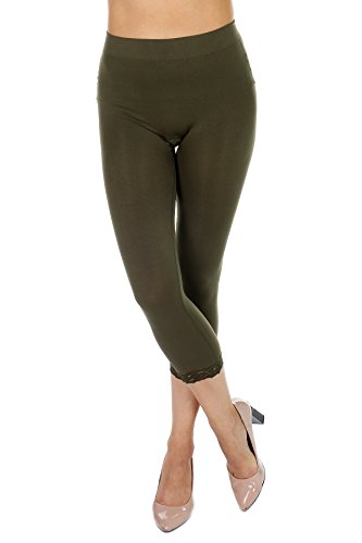 TODAY SHOWROOM Cropped Capri Leggings with Lace Trim by F&F - Stretchy, Lightweight Tights (One Size, DK Olive)