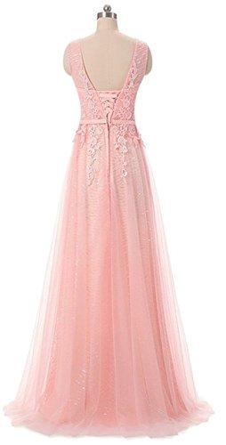 V Rosa Elegantes mit Gürtel ärmellos Perlen Kleid Lavendel Spitzen Linie Ballkleider Ausschnitt Abendkleid Rueckenfrei Langes A EEPqT