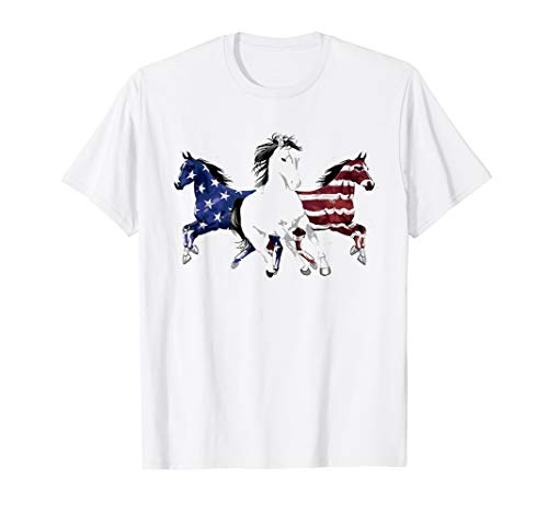 Funny Horse T-shirt - Horse Flag Funny T-Shirt Family Horse American Flag 4th T-Shirt