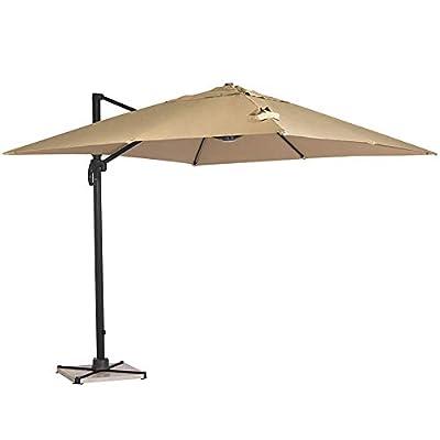 SUNCROWN Outdoor Umbrella 360 Degree Rotation, Square Offset Cantilever Umbrella Patio Hanging Umbrella w/Dual Wind Vent, Cross Base, Beige