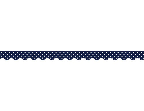 Teacher Created Resources 5432 Navy Polka Dots Scalloped Border Trim