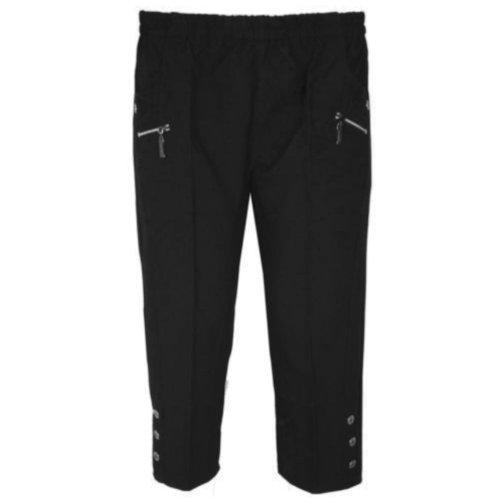 Pack de Plain para mujer traje de neopreno para mujer elástico a Capri 3/pantalones Plus 4 bolsillos teléfonos de gran tamaño negro