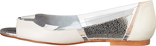 French Sole - Mocasines para mujer Off White Patent/Nappa/Silver